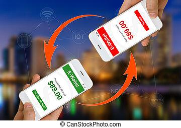 fintech, vagy, anyagi, technológia, fogalom, illusztrált, által, használ, smartphone, és, e-wallet, app, to gyártmány, fizetés, vagy, átutalás, pénz