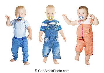 finto, infante, bambini, gruppo, succhiare, soother, bambini, isolato, bambino, fondo, ballo, anno, pacifier, vecchio, bianco, succhiare