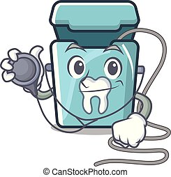 fio dental, personagem, isolado, doutor