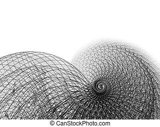 fio, e, linha, espiral, ilustração, branco