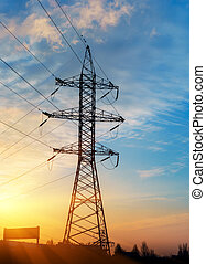 fio, elétrico, energia, em, sunset.