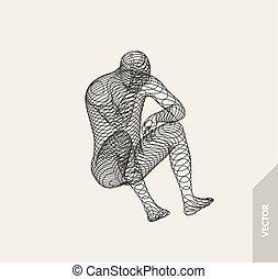 fio, illustration., concept., intelligence., engenharia, artificial, man., conexão, vetorial, virtual, modelo, tecnologia, reality., 3d