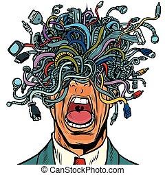 fio, pessoas, cabos, adaptador, isolado, fundo, branca,...