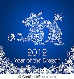 fiocchi neve, cinese, modello, drago, anno, nuovo