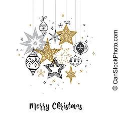 fiocchi neve, collezione, mano, stelle, decorazioni, illustrazioni, disegnato, natale