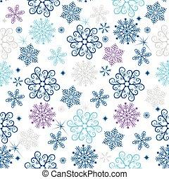 fiocchi neve, colorito, modello, seamless, natale, inverno
