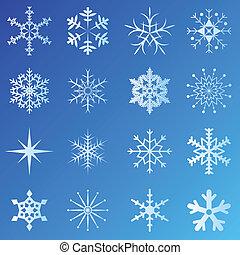 fiocchi neve, con, sfondo blu