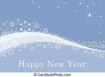 fiocchi neve, fondo, su, blu, appartamento, con, stelle