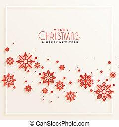fiocchi neve, impressionante, fondo, buon natale, rosso