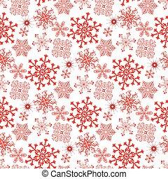 fiocchi neve, monocromatico, modello, natale, rosso, seamless