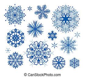 fiocchi neve, natale, icona, collectio
