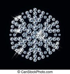 fiocco di neve, diamante, vettore, moda
