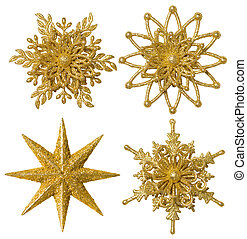 fiocco di neve, stella, decorazione natale, ornamento, natale, oro, sfavillante, set, isolato, bianco