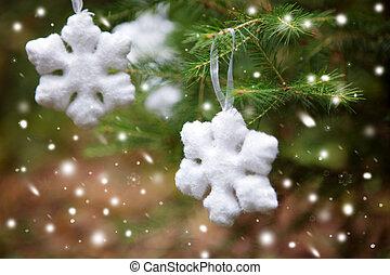 fiocco di neve, su, uno, albero natale