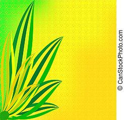 fioco, foglie, sfondo verde, giallo
