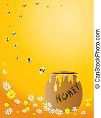 fiole miel, à, abeilles