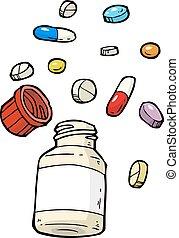 fiole, pilules
