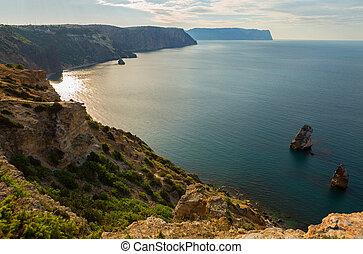 Fiolent cape. Sunny view of the Black Sea.