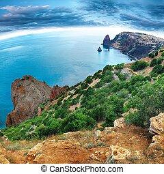 Sea landscape. Sea view. Mountains surround the bay. Fiolent , Crimea