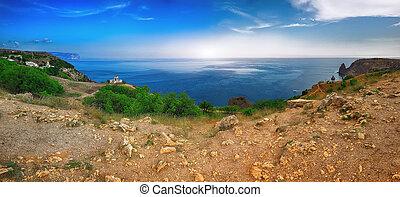 Fiolent , Crimea - sea landscape. Sea view - Mountains surround the bay. Pushkin's memorial