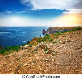 Fiolent , Crimea - sea landscape. Sea view - Mountains surround the bay.
