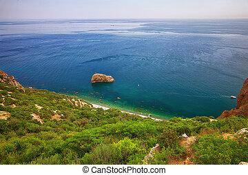 Fiolent , Crimea - sea landscape. Sea view - Mountains surround the bay