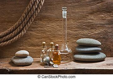 fioles, à, huiles essentielles