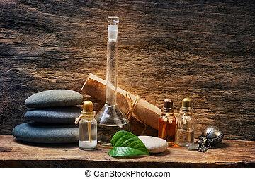 fioles, huiles essentielles
