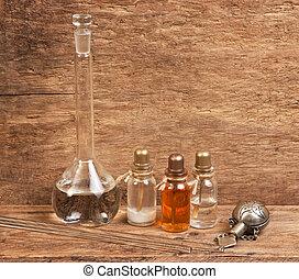 fioles, huiles, parfum, laboratoire, parfum
