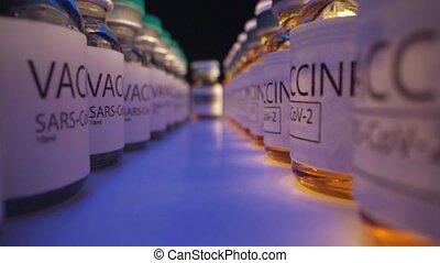 fioles, vaccin, sars-cov-2, fin, debout, drogue, haut, table, rang