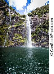 fiordland, sound., zélande, milford, nouveau