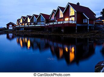 fiordo, cabañas, campamento, noche