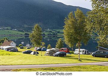 fiordo, orilla, Noruega, campamento