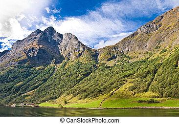 fiordos, en, noruega, y, escandinavo, naturaleza
