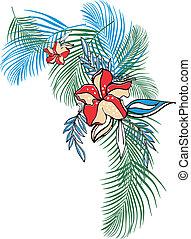 fiore, abbigliamento, tropicale
