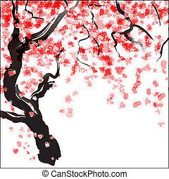 fiore, albero ciliegia