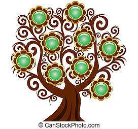 fiore, albero, isolato, illustrazione, bottoni, vettore, fondo, riccio, bianco