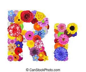 fiore, alfabeto, -, isolato, r, lettera, bianco