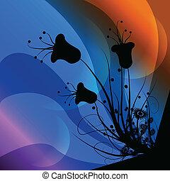 fiore, arte, fondo, clip