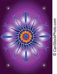 fiore, azzurramento, mandala