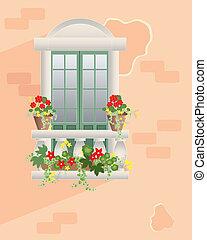 fiore, balcone