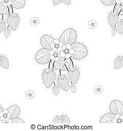 fiore bianco, fondo, fragola, contorno