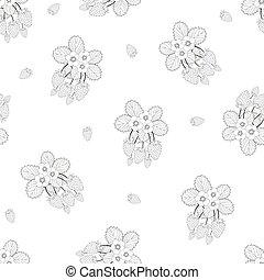 fiore bianco, fondo, seamless, fragola, contorno