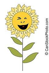 fiore bianco, isolato, cartone animato, sorridente