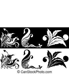 fiore bianco, nero, angolare, picchiettio