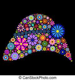 fiore, cappello, su, sfondo nero