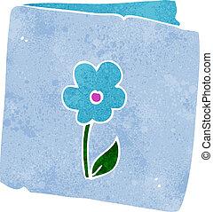 fiore, cartone animato, scheda, augurio