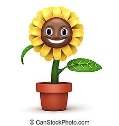 fiore, cartone animato, sole, vetro