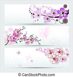 fiore, ciliegia, bandiere, set