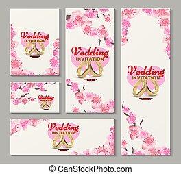 fiore, ciliegia, invito, giapponese, augurio, sakura, vettore, matrimonio, cartelle, fiori